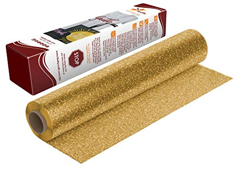 Firefly Craft Gold Glitter Heat Transfer Vinyl   Gold Glitter HTV Vinyl   Gold Glitter Iron On Vinyl for Cricut and Silhouette   5 Feet by 12.25 Inch Roll   Heat Press Vinyl for Shirts