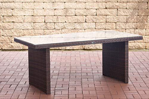 CLP Polyrattan Tisch Avignon I Gartentisch Aus Flachrattan I Esstisch In Verschiedenen Größen, Farbe:braun-meliert, Größe:180 cm
