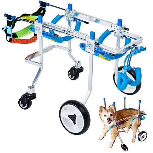 HobeyHove Adjustable 4-Wheel Dog Cart/Wheelchair, Animal Exercise Wheels,for Pet/Doggie Wheelchairs with Disabled Hind Legs Walking,Light Weight, Easy Assemble(7-Size) (XS)