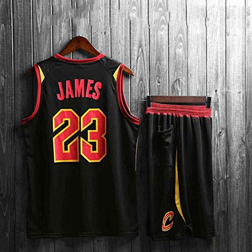 XSSC Shorts NBA Basketball Jersey NBA Basketball Uniform Anzug Herren New Jersey NBA-Ballanzug atmungsaktive Feuchtigkeit Sommerjacke Basketball Jersey Set Trainingsanzug Knight Black No. 23-XL