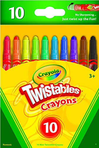 Crayola Mini Twistables Crayons, 10 Classic Colors Non-Toxic Art Tools for Kids & Toddlers 3 & Up, Great for Kids Classrooms or Preschools, Self-Sharpening No-Mess Twist-Up Crayons