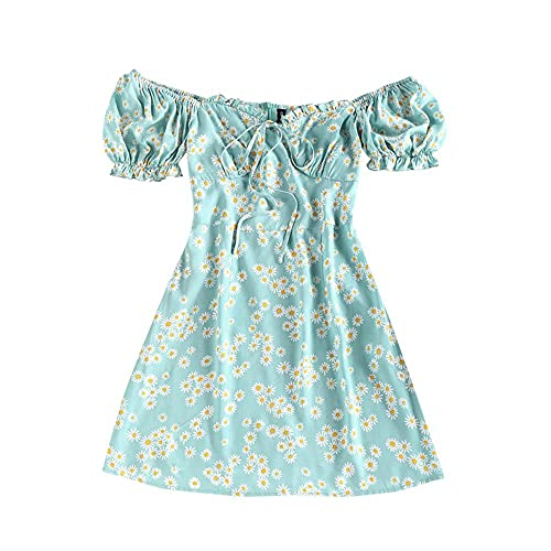ZAFUL Ditsy Print Puff Sleeve Ruched Mini Mermaid Dress Daisy Floral Tie Slit Off Shoulder Frilled Dress Blue