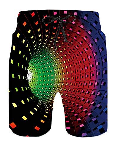 RAISEVERN Pantaloncini da Bagno da Ragazzo Pantaloncini da Bagno Colorati hawaiani Stampati in 3D per Sport Running Surf Costume da Spiaggia ad Asciugatura Rapida per papà Nonno Regali Estivi XL
