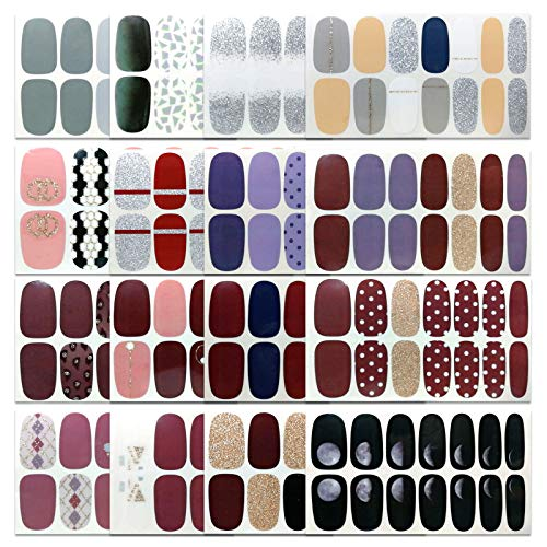 16 Sheets Nail Art Polish Stickers Decal Nail Wraps Prue Color Nails Strips Street Adhesive False Nail Design Manicure Set With 1Pc Nail Buffers Files For Women Girls