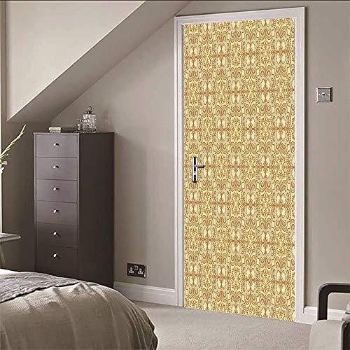 Autocollant Porte 3D pour Chambre, Fleur abstraite dorée Auto-adhésif Vinyles Autocollants de Porte Imperméables Amovible Affiche, Sticker Murale Porte pour Salon, Cuisine et Salle de Bain 77X200cm