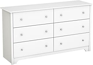South Shore Vito Collection 6-Drawer Double Dresser, Pure White with Matte Nickel Handles