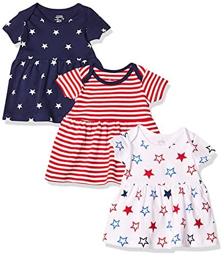 Amazon Essentials - Pack de 3 vestidos para niñas, Americana, Bebé prematuro