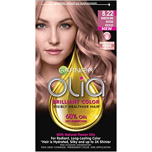 Garnier Olia Ammonia-Free Brilliant Color Oil-Rich Permanent Hair Color, 8.22 Medium Rose Gold (Pack of 1) Pink Hair Dye (Packaging May Vary)