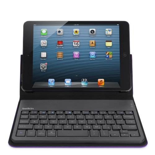 Belkin F5L145EDBLK Folio-Style Case with Built-In Bluetooth Keyboard (French AZERTY) for iPad Mini violet