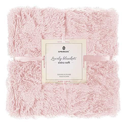 SPRINGOS Manta de peluche, manta de dos caras, manta de piel sintética (rosa pálido, 220 x 240 cm)