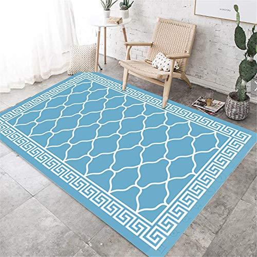 DJHWWD tapijten, mooie hygroscopisch tapijten, blauwe golf en vierkant, antislip tapijt voor de woonkamer, geometrisch design, multi-size tapijten