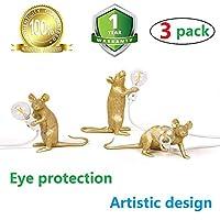 マウスランプ現代の金の樹脂の目の保護ライト創造的なデスクランプベッドサイドギフト装飾LEDベッドルーム、研究室、レストラン (3PACK)