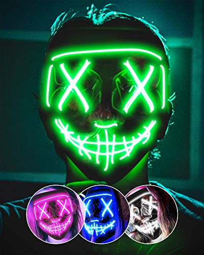 AnanBros Scary LED Halloween Mask, Masquerade Cosplay Light Up Face Mask for Men Women Kids Green