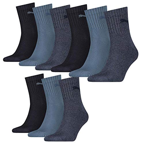 PUMA 9 Paar Socken Short Crew Sportsocken Tennis Socken Gr. 35-49 Unisex, Farbe:460 denim blue, Socken & Strümpfe:39-42