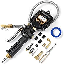 AstroAI Digital Tire Pressure Gauge, Heavy Duty Tire Inflator Gauge 250PSI Air Chuck Compressor Accessories with Stainless Braided Hose, Rotatable Dial&Quick Connect Coupler for 0.1 Display Resolution