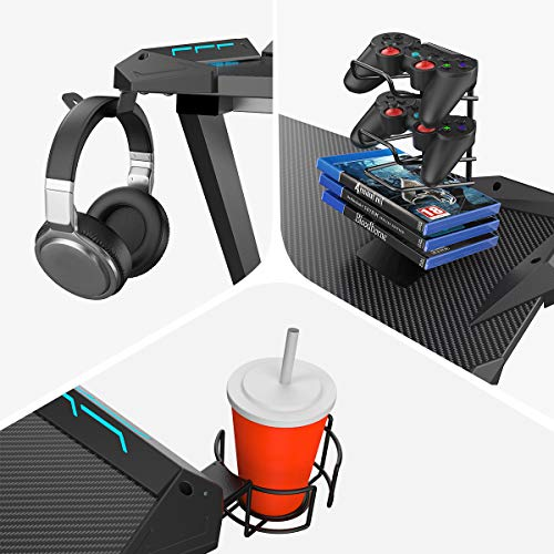 EUREKA ERGONOMIC Metal Gaming Accessories Bundle: Cup Holder, Headset Hook & Controller Game Rack (S, Black)