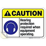 Hearing Protection Required When Equipment Operating Sign, ANSI...