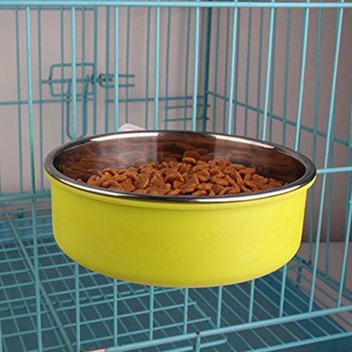 LFF.FF Pet Schüssel Zubringer Katzenschale Hundenapf Rostfreier Stahl Hundehütte Hängen Festgelegter Typ Zäh Rutschfest,Green,S