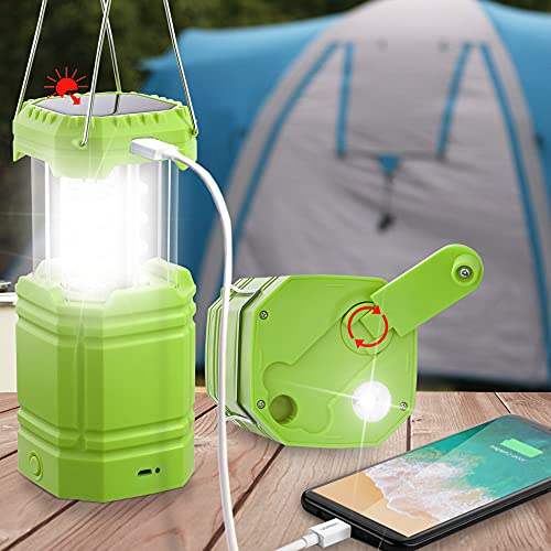Rechargeable LED Camping Lantern for Emergency, Solar Hand Crank Flashlight with 35H Play Time, Collapsible Survival Light, USB Charger & Power Bank for Cellphone, Must-Have Light for Power Outage