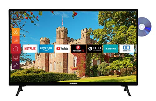 Telefunken XH24J501D 24 Zoll Fernseher (Smart TV inkl. Prime Video / Netflix / YouTube, HD ready, DVD-Player, Works with Alexa, Triple-Tuner) [Modelljahr 2020]
