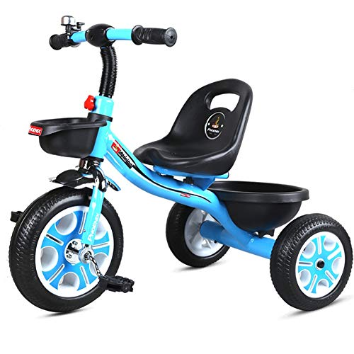 Song Radio Flyer Tricycle Baby Carriage Bicycle Portable Seat with Bell Silent Tire with Pedal Outing Passenger Toy Best for Gifts (Color : Blue)