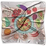 Uridy Pañuelo de raso cuadrado Molcajete y vegetales Seda como pañuelos ligeros Pañuelo para la cabeza Chal cuello Pañuelo en la cabeza