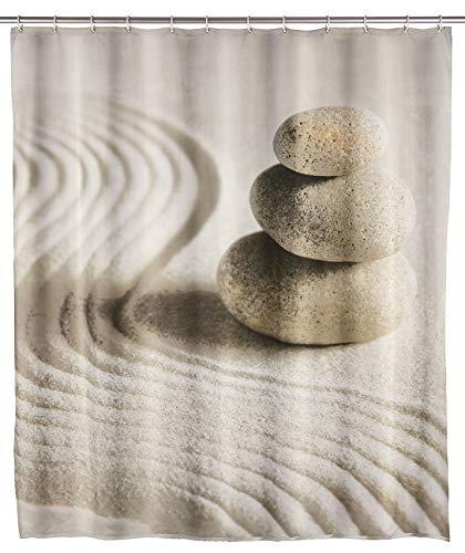 WENKO Duschvorhang Sand & Stone, Textil-Vorhang fürs Badezimmer, mit Ringen zur Befestigung an der Duschstange, waschbar, wasserabweisend, 180 x 200 cm