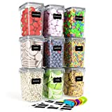 Airtight Food Storage Containers 9 Pieces 1.5qt / 1.6L- Kitchen Pantry Organization Containers, Plastic Canister for Flour, Sugar and Baking Supplies, with Labels and Measuring Spoons