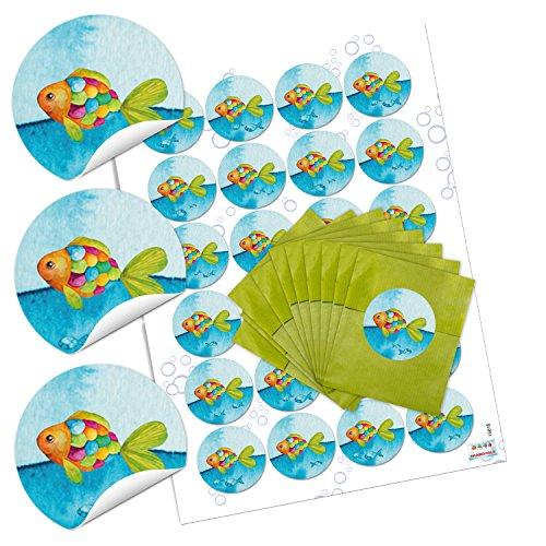 10 kleine grüne Papiertüten blau türkis pink orange Regenbogen-Fisch 7 x 9 cm + 24 runde Aufkleber - Verpackung give-away Mitgebsel Kinder