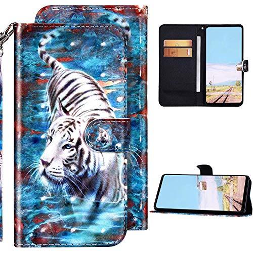 Kompatibel mit LG K61 Hülle Ledertasche Brieftasche Schutzhülle Flip Case,3D Glänzend Bling Bunt Bemalt Muster PU Leder Klapphülle Tasche Wallet Handyhülle,Tiger