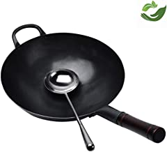 Kitchen Cookware Wok, Cast Iron Pot/Wok- 30/36cm Caliber,No CoatedWith Lid and Handle,Non-Stick Pan Gas Stove Special Cook...
