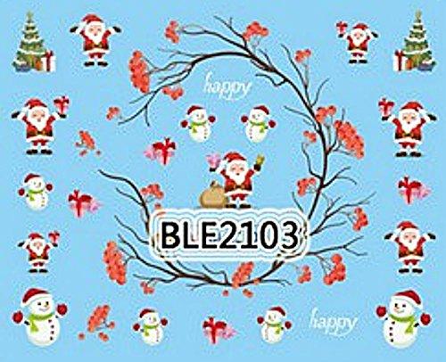 NC Nail Art Stickers décalcomanie Bijoux Ongles Scrapbooking décorations de Noël père Noël Branches Houx