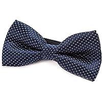 DonDon pajarita noble para niños chico - combinada y ajustable 9x 4,5 cm - de color azul noche - brillada con argénteo puntos