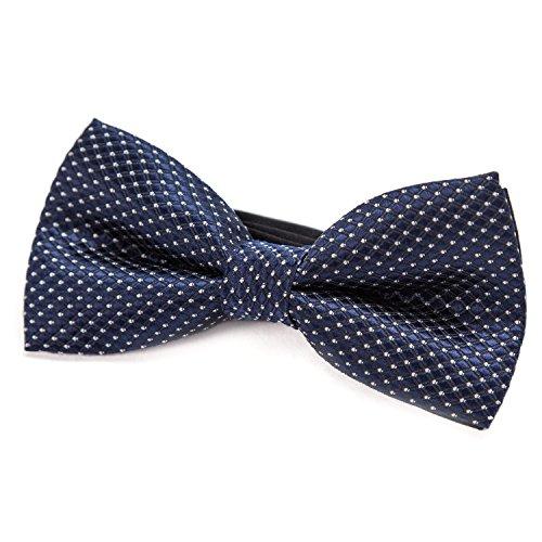 DonDon pajarita noble para niños chico - combinada y ajustable 9x 4,5 cm - de color azul - brillada con argénteo puntos
