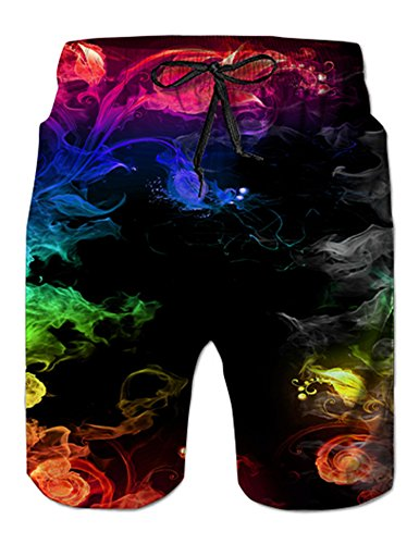 NEWISTAR Herren 3D Jogger Freizeitshorts Sportshorts Kurze Hose Shorts Badehose L Coloured Smoke