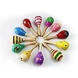 MUROAD 4 piezas Maracas de madera Juguetes educativos musicales para niños, juguetes de madera...