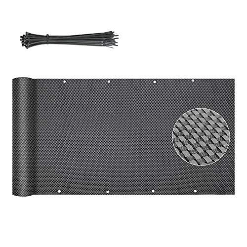 Sekey Brise-Vue pour Balcon en polyéthylène avec œillets, Fixation de câble en Nylon Anthracite 0.9×5m
