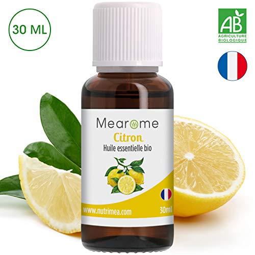 Huile Essentielle de citron BIO Mearome - 30 ml - 100% Pure et Naturelle - HEBBD - HECT - Distillée en France - DETOX cheveux brillants et peau purifiée des imperfections
