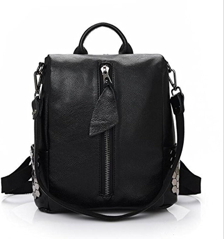 JYB  Female rivets leather shoulder backpack bag , 5
