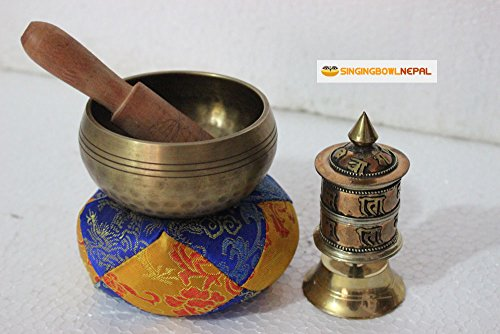 Hand Beaten C Root Chakra Tibetan Meditation Yoga Singing Bowl 3 Inch Set Includes Free Table Top Prayer Wheel