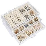 misaya 3 Drawers Jewelry Box, Clear Acrylic Earrings Jewelry Organizer, Gift for Women Girls, Cream