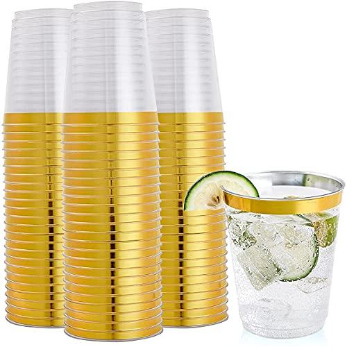 50 vasos de plástico con borde dorado, 255 ml para fiestas desechables, solo tazas para bodas, día de Acción de Gracias, fiesta de Navidad