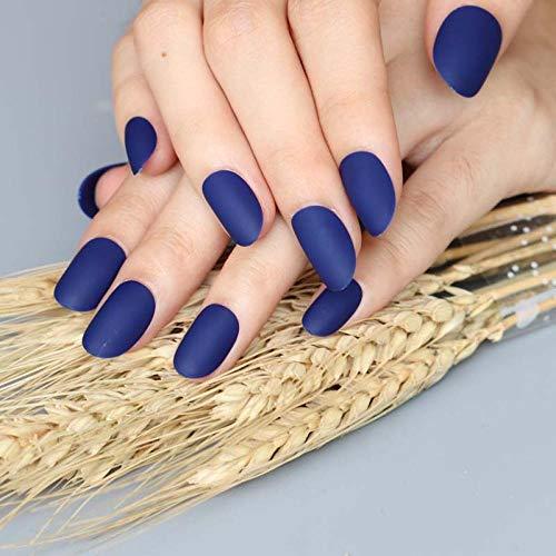 CSCH Faux ongles 24pcs nouvelle mode mignon ovale excellente conception tactile mat faux ongles bleu foncé