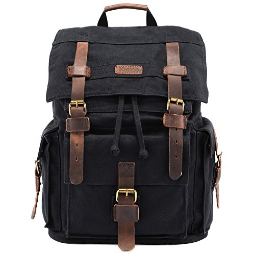 Kattee Men's Leather Canvas Backpack Large School Bag Travel...