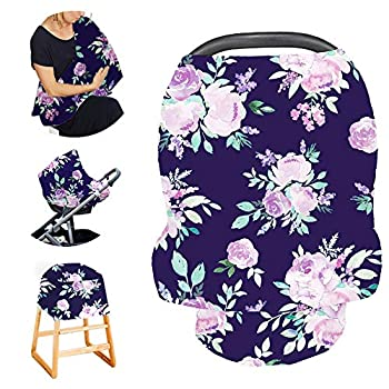 Purple Flower Car seat Canopy for Babies Car Seat Cover Girls CarSeat Canopies for Newborn Multiuse - Nursing Breastfeeding Covers Shopping Cart/High Chair/Stroller Covers Scarf Soft Breathable