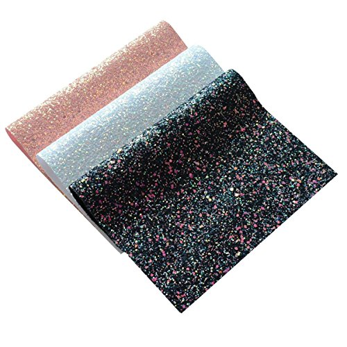Chunky Glitter Fabric Sheets- 3 Pieces of Assorted Colours 8' x 12' Precut Shiny Thick Canvas Fabric Sheets for Bag Making, Hat Making, Hair Crafts Making, Jewelry Making, Sewing (Mix Color-3)