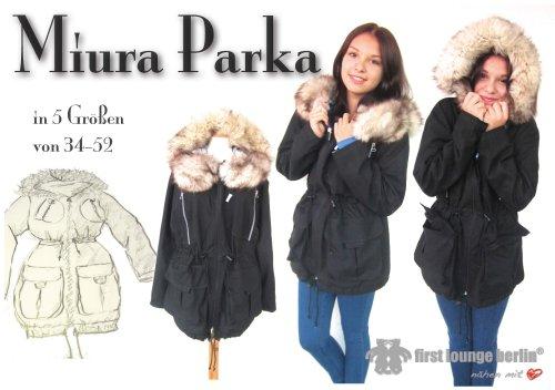 Miura Nähanleitung mit Schnittmuster auf CD für Parka bzw. Kapuzen-Jacke oder Mantel in 5 Größen Gr. 34/36-50/52