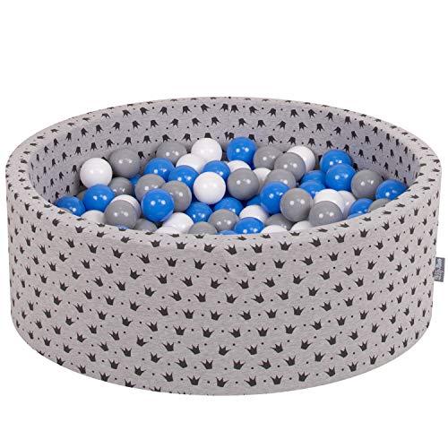 KiddyMoon 90X30cm/200 Bolas ∅ 7Cm Piscina De Bolas para Ninos Hecha En La UE, Gris-Negro:Gris/Blanco/Azul
