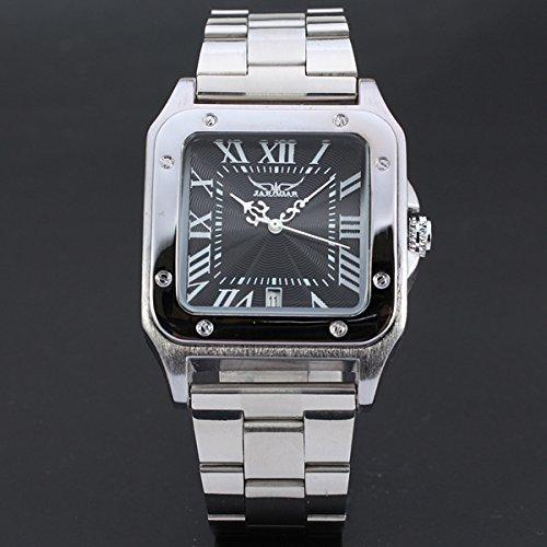 XKC-watches Herren- und Damenuhren, Schweizer Uhren Japan Männer Klassische quadratische Leder hohl automatische mechanische Uhr (Color : 1)
