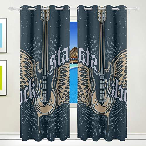 Ahomy Rock Star Gitarre Polyester Vorhang Verdunkelungsvorhang Home Decor für Terrasse Fenster Schiebetür Glas Tür 213,3 x 139,7 cm 2 Panels Set